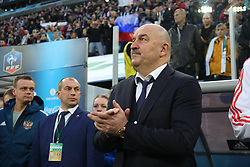 March 27, 2018 - Saint-Petersburg, Russia - Russian Federation. Saint-Petersburg. Arena Saint-Petersburg. Zenit-Arena. Football. Russia - France, Friendly match 1: 3. The football World Cup. The player of national team of Russia on football..head coach; Stanislav Cherchesov; (Credit Image: © Russian Look via ZUMA Wire)