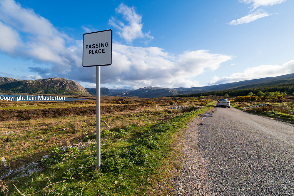 Passing place on the North Coast 500 tourist motoring route in northern Scotland, UK