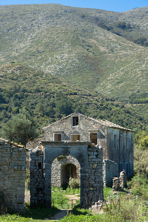 Ruins of Skordilis Mansion house in oldest village of Corfu - ancient mountain village Old Perithia - Palea Peritheia, Greece