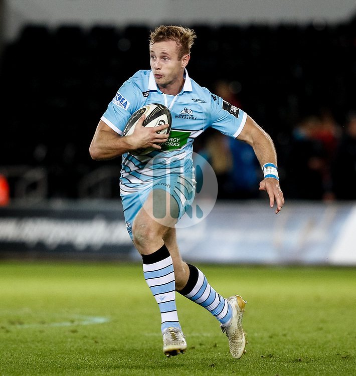 Brandon Thomson of Glasgow Warriors<br /> <br /> 2nd November, Liberty Stadium , Swansea, Wales ; Guinness pro 14's Ospreys Rugby v Glasgow Warriors ;  <br /> <br /> Credit: Simon King/News Images<br /> <br /> Photographer Simon King/Replay Images<br /> <br /> Guinness PRO14 Round 8 - Ospreys v Glasgow Warriors - Friday 2nd November 2018 - Liberty Stadium - Swansea<br /> <br /> World Copyright © Replay Images . All rights reserved. info@replayimages.co.uk - http://replayimages.co.uk