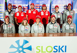 Lenart Oblak, Klemen Bauer, Janez Ozbolt, Anja Erzen, Tomas Kos, Teja Gregorin, Miha Podgornik, Jakov Fak, Miha Dovzan, Mitja Drinovec and Rok Trsan during press conference of Slovenian Biathlon Team before new winter season 2016/17, on November 10, 2016 in Petrol, Ljubljana, Slovenia. Photo by Vid Ponikvar / Sportida