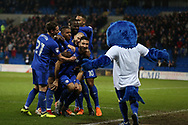 Marko Grujic  of Cardiff city © celebrates with his teammates and the Cardiff city bluebird mascot after he scores his teams 2nd goal. EFL Skybet championship match, Cardiff city v Barnsley at the Cardiff city stadium in Cardiff, South Wales on Tuesday 6th March 2018.<br /> pic by Andrew Orchard, Andrew Orchard sports photography.