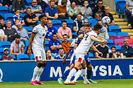 Bournemouth defender Gary Cahill (24) under pressure during the EFL Sky Bet Championship match between Cardiff City and Bournemouth at the Cardiff City Stadium, Cardiff, Wales on 18 September 2021.