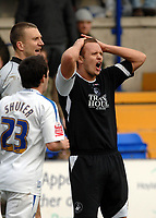 Photo: Paul Greenwood.<br />Tranmere Rovers v Swansea City. Coca Cola League 1. 10/03/2007.<br />Swansea's Lee Trundle reacts as he recieves the red card for two bookable offences from referee Mr G Laws