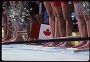 Barcelona, SPAIN.  CAN W8+ gold medalist, Brenda Susan TAYLOR, Jennifer Kirsten BARNES, Jessica MONROE, Kathleen HEDDLE, Kay Frances WORTHINGTON, Cox, Lesley Allison THOMPSON, Marnie Elizabeth MCBEANMegan Catherine DELEHANTY, Shannon CRAWFORD. 1992 Olympic Rowing Regatta Lake Banyoles, Catalonia [Mandatory Credit Peter Spurrier/ Intersport Images]