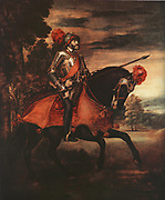The Emperor Charles V on Horseback, painted by Titian (1488/90 - 1576)in 1548.Charles V (1500-1558) Holy Roman Emperor 1519-1556 and king of Spain as Charles I (1516-1556),founder of the Habsburg dynasty