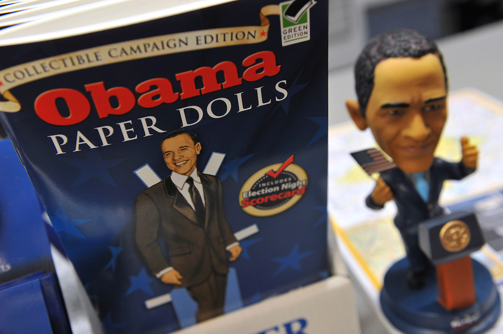 Commemorative Barack Obama innauguration collectibles of all varieties are on display in a Washington D.C. souvenir store just days before the Presidential Inauguration takes place January 20th, 2009, swearing in Obama as the nation's 44th president.