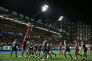 Tom Price of the Scarlets jumps to claim a line out ball. Guinness Pro12 rugby match, Cardiff Blues v Scarlets at the BT Cardiff Arms Park in Cardiff, South Wales on Friday 28th October 2016.<br /> pic by Andrew Orchard, Andrew Orchard sports photography.