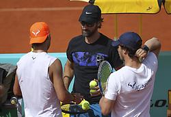 May 7, 2019 - Madrid, MADRID, SPAIN - Rafa Nadal (ESP) and carlos Moya (ESP) during the Mutua Madrid Open 2019 (ATP Masters 1000 and WTA Premier) tenis tournament at Caja Magica in Madrid, Spain, on May 07, 2019. (Credit Image: © AFP7 via ZUMA Wire)