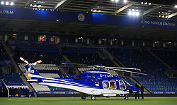 """A helicopter belonging to Leicester City owner Vichai Srivaddhanaprabha on the pitch after the Premier League match at the King Power Stadium, Leicester. PRESS ASSOCIATION Photo. Picture date: Sunday October 29, 2017. See PA story SOCCER Leicester. Photo credit should read: Mike Egerton/PA Wire. RESTRICTIONS: EDITORIAL USE ONLY No use with unauthorised audio, video, data, fixture lists, club/league logos or """"live"""" services. Online in-match use limited to 75 images, no video emulation. No use in betting, games or single club/league/player publications."""