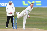 Scott Borthwick of Durham bowling from the Pavilion End during the LV= Insurance County Championship match between Nottinghamshire County Cricket Club and Durham County Cricket Club at Trent Bridge, Nottingham, United Kingdom on 11 April 2021.