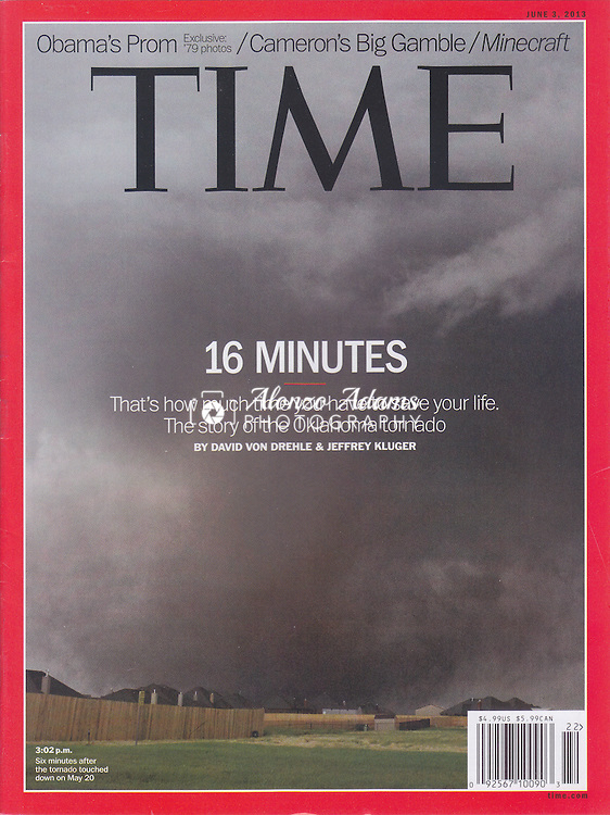TIME Magazine National Cover for June 3, 2013 taken by Alonzo J. Adams.  Photo of May 20, 2013 Moore, OK. deadly tornado.