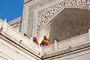 Indian tourists at The Taj Mahal mausoleum, Uttar Pradesh, India