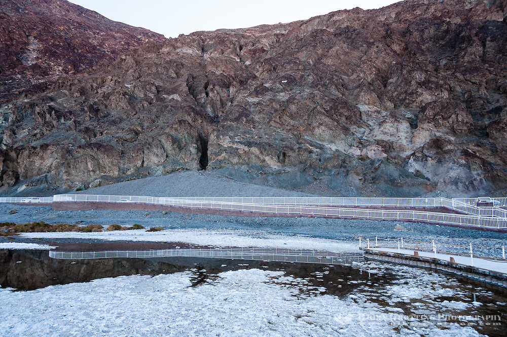 United States, California, Death Valley. Badwater is a salt flat 86 meters (282 ft) below sea level. The Sea-level sign can be seen halfway up the mountain side.