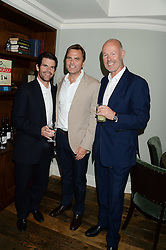 Left to right, MAX GOTTSCHALK, CHRIS THOMSON and SIMON OAKES at a party to celebrate the publication of Restaurant Babylon by Imogen Edwards-Jones held at Little House, 12a Curzon Street, London on 2nd July 2013.