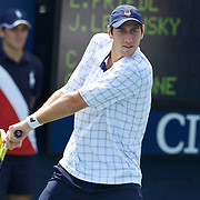 Carsten Ball, Australia, in action with Chris Guccione, in their men's doubles match against Levinsky and Friedl during the US Open Tennis Tournament at Flushing Meadows, New York, USA, on Monday, September 7, 2009. Photo Tim Clayton.