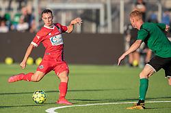 Sebastian Czajkowski (FC Helsingør) afslutter under træningskampen mellem FC Helsingør og Næstved Boldklub den 19. august 2020 på Helsingør Stadion (Foto: Claus Birch).