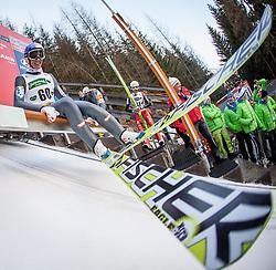 10.01.2014, Kulm, Bad Mitterndorf, AUT, FIS Ski Flug Weltcup, Probedurchgang, im Bild Gregor Schlierenzauer (AUT) // Gregor Schlierenzauer (AUT) during the Trial jump of FIS Ski Flying World Cup at the Kulm, Bad Mitterndorf, <br /> Austria on 2014/01/10, EXPA Pictures © 2014, PhotoCredit: EXPA/ JFK