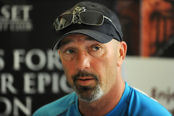 Dejection for Somerset's Director of Cricket Matt Maynard at the end of the match Press Conference. - Photo mandatory by-line: Harry Trump/JMP - Mobile: 07966 386802 - 14/04/15 - SPORT - CRICKET - LVCC County Championship - Day 3 - Somerset v Durham - The County Ground, Taunton, England.