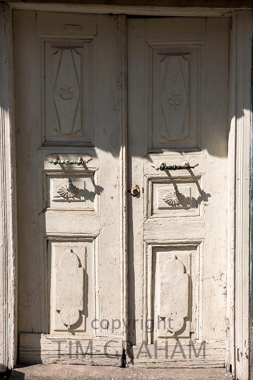 Traditional architecture doorway of a home in the area of Kariye Muzesi, Edirnekapi in Istanbul, Republic of Turkey