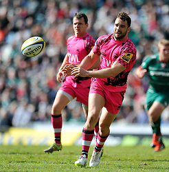 Olly Barkley of London Welsh passes the ball - Photo mandatory by-line: Patrick Khachfe/JMP - Mobile: 07966 386802 25/04/2015 - SPORT - RUGBY UNION - Leicester - Welford Road - Leicester Tigers v London Welsh - Aviva Premiership