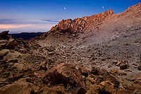 The crater of the Teide at night, with the stars. Teide volcano is the highest mountain of Spain, 3.718 m. Teide National Park, Tenerife Island, Canary Islands, Spain.