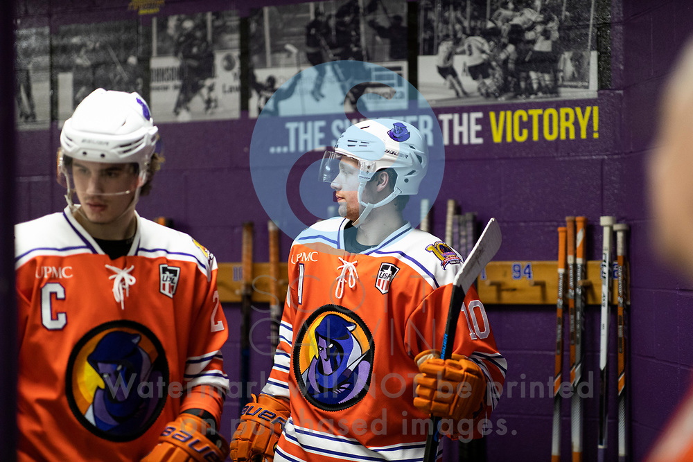 Youngstown Phantoms lose 4-1 to the Tri-City Storm at the Covelli Centre on January 17, 2020.<br /> <br /> Jacob Felker, forward, 10; Aiden Gallacher, defenseman, 2