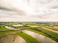Aerial view of bridge crossing the Ijssel river, Deventer, Netherlands.