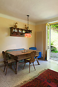 Architecture, interior of a country house, old wooden dining table