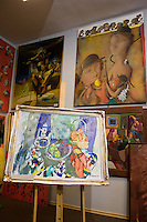 Painting Exhibits inside the Space Gallery in Stare Miasto Krakow Old Town Poland