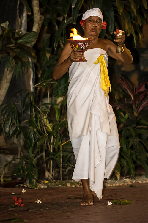 Portrait of a Hindu priest performing blessings at a Barong Dance in Bali