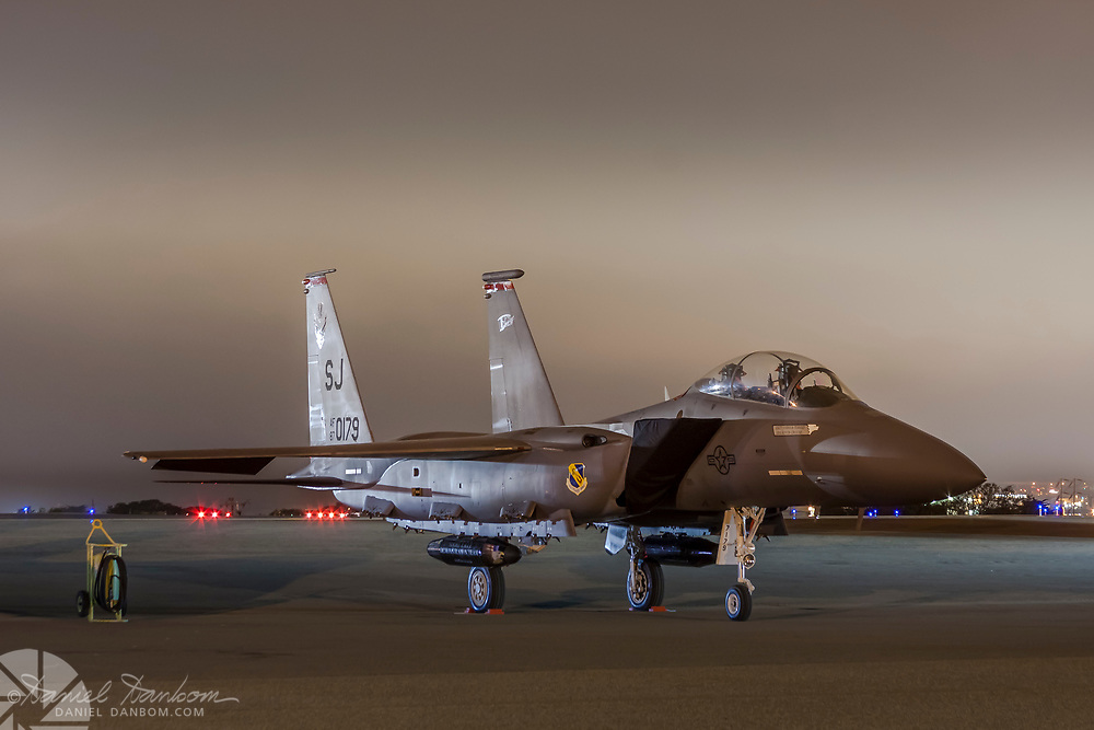 F-15 on the ramp at night, MRY, Monterey Jet Center California