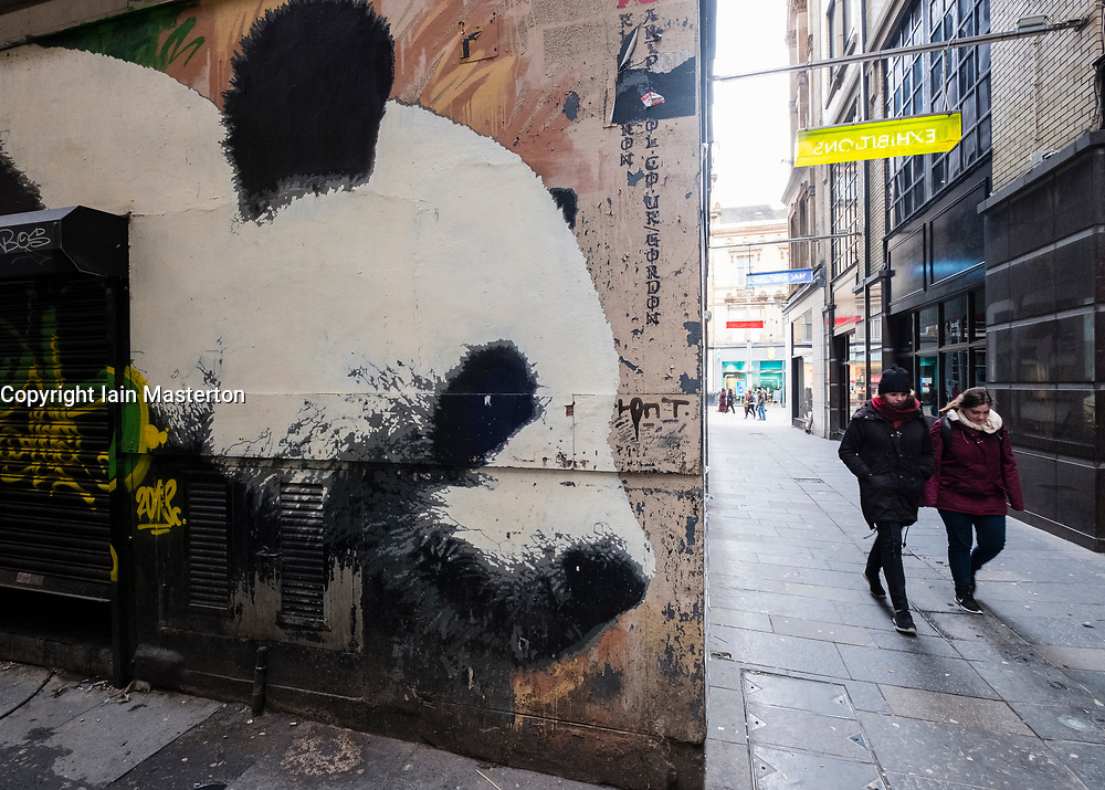 Mural,  Giant Panda by James Klinge  in central Glasgow  Mitchell Lane, Scotland UK.
