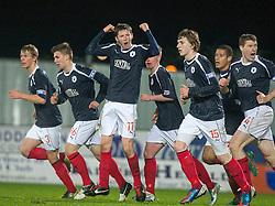 Falkirk's Conor McGrandles (11) cele scoring their first goal..Falkirk 2 v 1 Hamilton, 24/11/2012..©Michael Schofield.