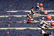 Atlanta Olympics 1996 - Lake Lanier, USA, CAN W1X,  Silken Laumann, centre red boat, Olympic Silver medal, All Rights Reserved - Peter Spurrier/Intersport Images,<br /> Mobile 44 (0) 973 819 551<br /> email images@intersport-images.com