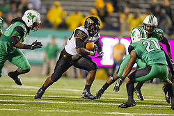 Oct 9, 2015; Huntington, WV, USA; Southern Miss Golden Eagles running back Jalen Richard runs the ball during the first quarter against the Marshall Thundering Herd at Joan C. Edwards Stadium. Mandatory Credit: Ben Queen-USA TODAY Sports