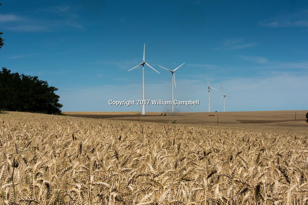 Wind turbines in wheat fields near the village of Le Bouchet in the Loire Valley, France.