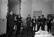 13/07/1967<br /> 07/13/1967<br /> 13 July 1967<br /> International TV award for Kenny's  Advertising Agency Ltd. presented at the Shelbourne Hotel, Dublin. At a reception in the Shelbourne Mr. James Van Buren, of Time Life International, presented the International Market Advertising award, won against competition from 15 countries, to Mr. Michael B. Kenny and Mr. K.A. Kenny, Joint managing directors of Kenny's Advertising. the award, won by Kenny's for the second successive year, was for a 30-sec. television commercial made for Navan Carpets and shown on RTE. <br /> Picture shows Mr. Michael B. Kenny speaking at the event with Mr. James Van Buren on left and Mr. K.A. Kenny by the chair.