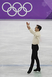 February 17, 2018 - Pyeongchang, KOREA - Javier Fernandez of Spain after competing in the men's figure skating free skate program during the Pyeongchang 2018 Olympic Winter Games at Gangneung Ice Arena. (Credit Image: © David McIntyre via ZUMA Wire)