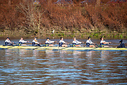 Mortlake, Greater London. 11th December 2019, Oxford Women's University Trial Eights, named, Morley and Brown,  on the finishing line, Morely: Cox: Costanza Levy, Stroke: Amelia Standing, 7: Tina Christmann, 6: Georgina Grant 5: Martha Birtles, 4: Fijnanda van Klingeren, 3: Emily Davenport, 2: Hazel Wake, Bow: Hannah Morrisey, race over the Championship Course, Putney to Mortlake, River Thames, [Mandatary Credit: Peter SPURRIER/Intersport Images],