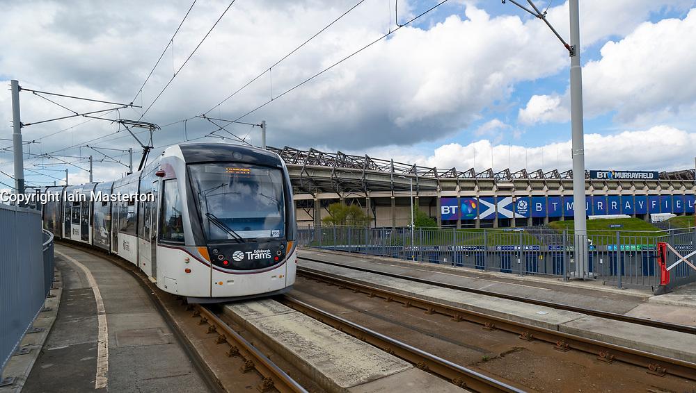 Edinburgh tram passing Murrayfield Stadium, Edinburgh, Scotland, UK