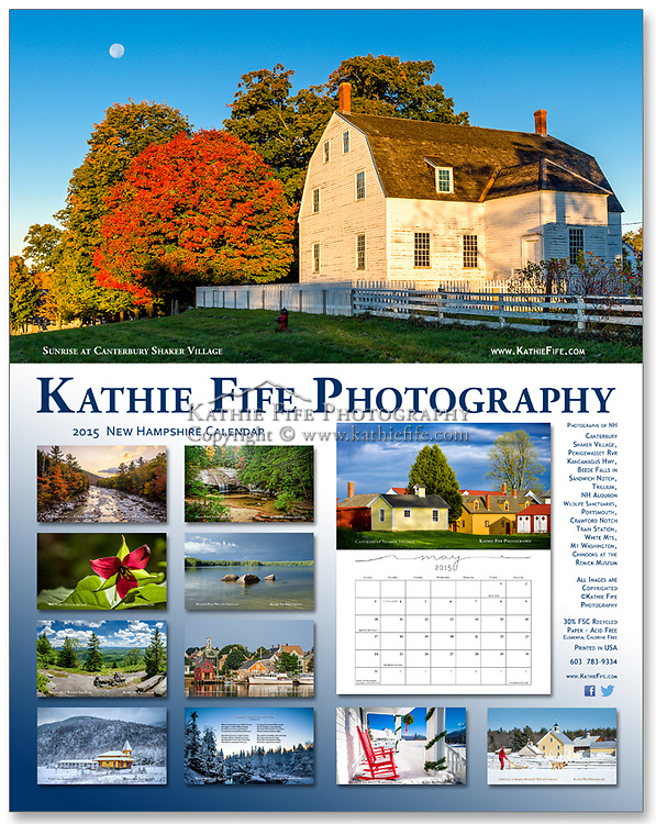 2015 Kathie Fife Photography Calendar<br /> <br />  Featuring 12 New Hampshire Photographs<br /> -(2) Canterbury Shaker Village<br /> -Pemigewasset River, Kancamagus Hwy<br /> -Beede Falls, Sandwich Notch<br /> -Trillium erectum - Wake Robin<br /> -(2) NH Audubon Willard Pond Wildlife Sanctuary<br /> -Historic Portsmouth Harbour<br /> -Crawford Notch Train Station<br /> -White Mountain Stream<br /> -Mount Washington Hotel<br /> -Chinooks at Remick Museum, Dog sledding at the Winter Carnival Festival, Tamworth<br /> <br /> Includes dates of the Full Moon.<br /> <br /> Calendars are flat 11x14. Comes with a wire hanger. Printed on 13 sheets of sturdy and heavy stock with a vibrant matte finish. 30% FSC Recycled Paper, Acid Free and Archival, Elemental Chlorine Free.<br /> <br /> Calendar squares allow space to write in. Each month is printed on a single page (no worries about pen impressions ruining the beautiful photographs). Save the calendar and crop out the images for framing. The acid free paper ensures they won't turn yellow over time. <br /> <br /> The exquisite calendars make an excellent gift for someone who loves New Hampshire's landscapes and historic villages. But, once you see them, it will be hard to part with it. <br /> <br /> You might want to order two!<br /> <br /> Limited quantity in stock. Order early.<br /> <br /> PROUDLY PRINTED in the USA!<br /> <br /> Ships at about 1.5# per calendar.