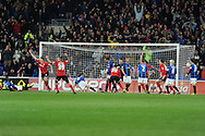 Cardiff city's Ben Turner (l, no6) celebrates after he scores his sides 1st goal.  Npower championship, Cardiff city v Barnsley at the Cardiff city stadium in Cardiff, South Wales on Tuesday 9th April 2013. pic by Andrew Orchard,  Andrew Orchard sports photography,
