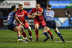 Scarlets' Ken Owens is tackled by Cardiff Blues' Owen Lane - Mandatory by-line: Craig Thomas/Replay images - 31/12/2017 - RUGBY - Cardiff Arms Park - Cardiff , Wales - Blues v Scarlets - Guinness Pro 14