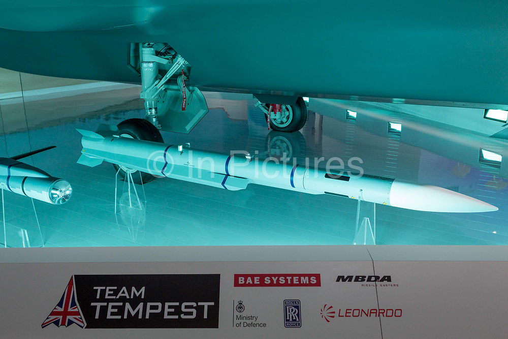 A scale model of the BAE Systems Tempest fighter, a replacement for the Typhoon, in the companys exhibition hall at the Farnborough Airshow, on 18th July 2018, in Farnborough, England.