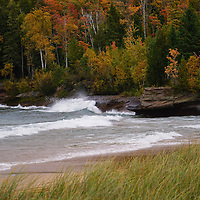 """""""Autumn Spray""""<br /> <br /> Waves crash against the rocks in autumn along Lake Superior in the UP."""
