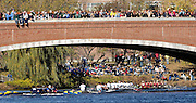 Boston, Massachusetts, GV's. looking down river from  as crews pass under the  Eliot Bridge,  competing in the the Forty second Head of the Charles, 21/10/2006.  Photo  Peter Spurrier/Intersport Images...[Mandatory Credit, Peter Spurier/ Intersport Images] Rowing Course; Charles River. Boston. USA
