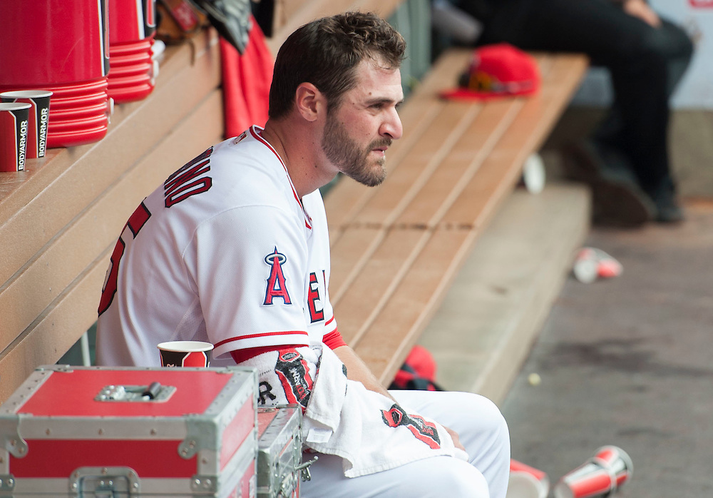 The Angels' Nick Tropeano sits in the dugout during the Angels' 13-inning 8-6 loss to the Houston Astros Sunday at Angel Stadium. <br /> <br />  //ADDITIONAL INFO:   <br /> <br /> angels.0530.kjs  ---  Photo by KEVIN SULLIVAN / Orange County Register  -- 5/29/16<br /> <br /> The Los Angeles Angels take on the Houston Astros Sunday at Angel Stadium.
