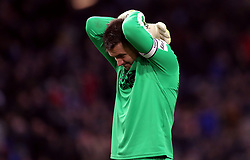 Burnley goalkeeper Thomas Heaton reacts to a missed chance by his team-mates during the Premier League match at Turf Moor, Burnley.