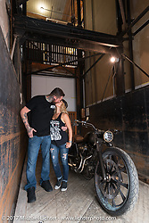 Ricochet Customs' Krystal Hess and custom bike builder and In Motion Bike Show participant Chris Moos of Misfit Industries at the Lone Star Rally. Galveston, TX. USA. Sunday November 5, 2017. Photography ©2017 Michael Lichter.